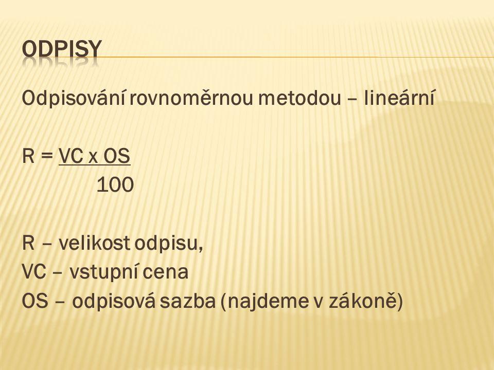  Příklad: DHM; VC 2.500.000 Kč; OS 3 /12 let/  1rok odpisová sazba 4,3  Další období 8,7