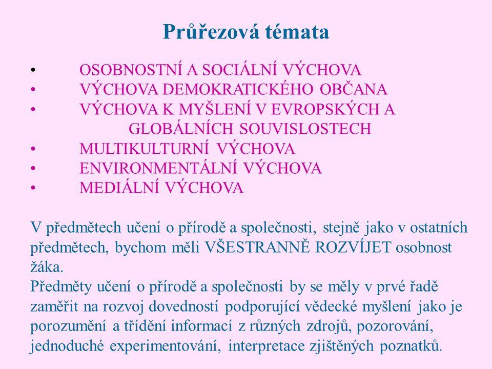 Průřezová témata OSOBNOSTNÍ A SOCIÁLNÍ VÝCHOVA VÝCHOVA DEMOKRATICKÉHO OBČANA VÝCHOVA K MYŠLENÍ V EVROPSKÝCH A GLOBÁLNÍCH SOUVISLOSTECH MULTIKULTURNÍ VÝCHOVA ENVIRONMENTÁLNÍ VÝCHOVA MEDIÁLNÍ VÝCHOVA V předmětech učení o přírodě a společnosti, stejně jako v ostatních předmětech, bychom měli VŠESTRANNĚ ROZVÍJET osobnost žáka.