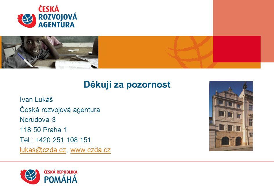 Ivan Lukáš Česká rozvojová agentura Nerudova 3 118 50 Praha 1 Tel.: +420 251 108 151 lukas@czda.czlukas@czda.cz, www.czda.czwww.czda.cz Děkuji za pozornost!!