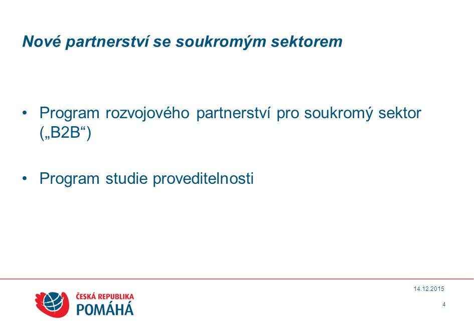 """Nové partnerství se soukromým sektorem Program rozvojového partnerství pro soukromý sektor (""""B2B ) Program studie proveditelnosti 4 14.12.2015"""