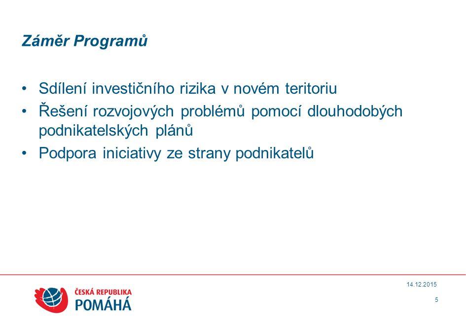 Záměr Programů Sdílení investičního rizika v novém teritoriu Řešení rozvojových problémů pomocí dlouhodobých podnikatelských plánů Podpora iniciativy ze strany podnikatelů 5 14.12.2015