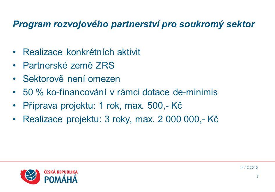 Program rozvojového partnerství pro soukromý sektor Realizace konkrétních aktivit Partnerské země ZRS Sektorově není omezen 50 % ko-financování v rámci dotace de-minimis Příprava projektu: 1 rok, max.