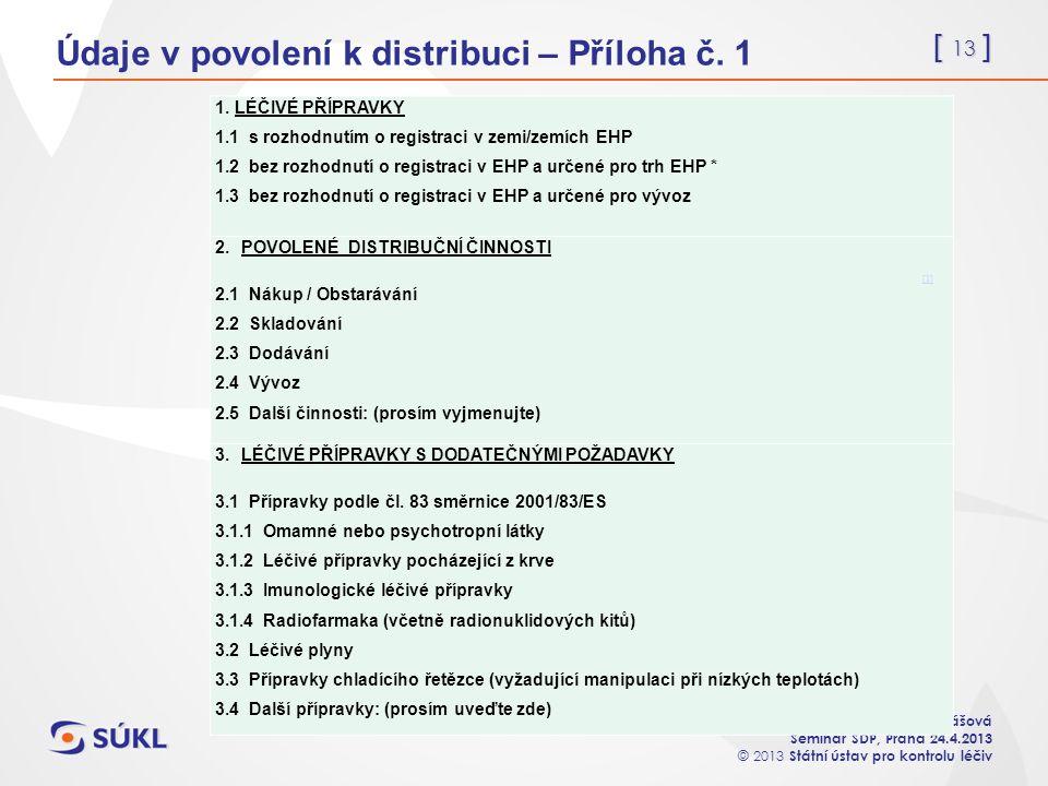 [ 13 ] Mgr. Apolena Jonášová Seminář SDP, Praha 24.4.2013 © 2013 Státní ústav pro kontrolu léčiv Údaje v povolení k distribuci – Příloha č. 1 1. LÉČIV