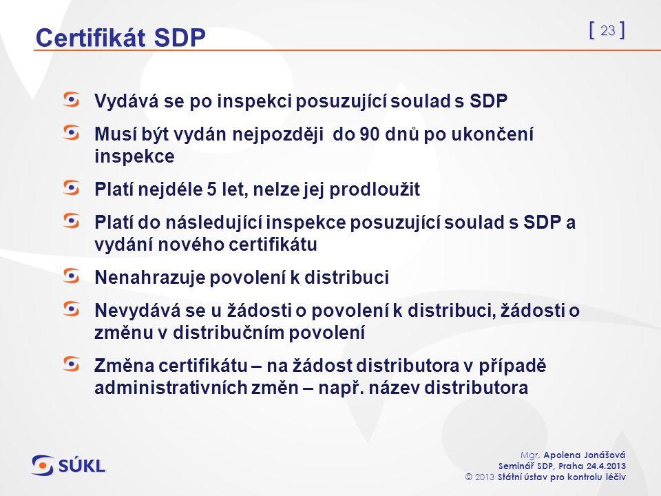 [ 23 ] Mgr. Apolena Jonášová Seminář SDP, Praha 24.4.2013 © 2013 Státní ústav pro kontrolu léčiv Certifikát SDP Vydává se po inspekci posuzující soula