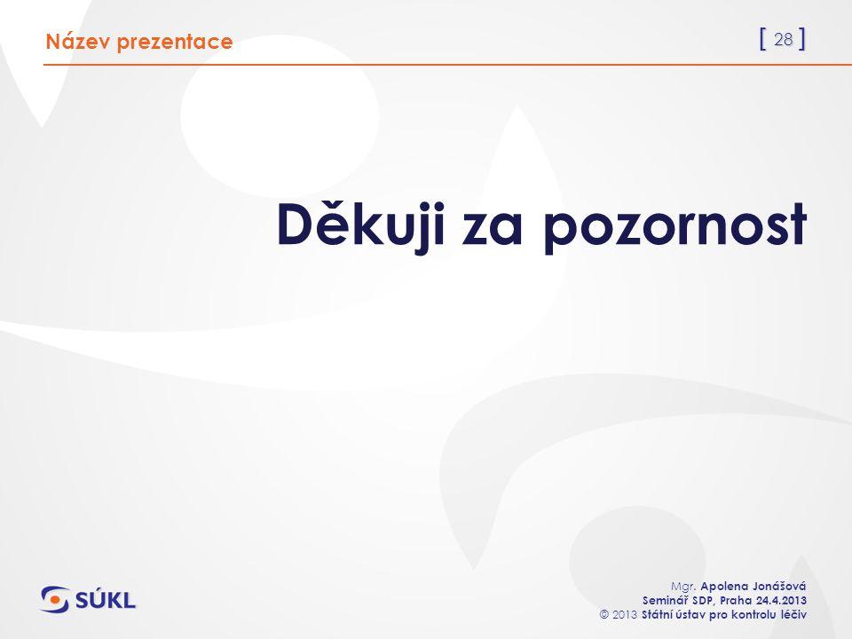 [ 28 ] Mgr. Apolena Jonášová Seminář SDP, Praha 24.4.2013 © 2013 Státní ústav pro kontrolu léčiv Děkuji za pozornost Název prezentace