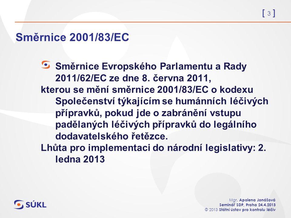 [ 3 ] Mgr. Apolena Jonášová Seminář SDP, Praha 24.4.2013 © 2013 Státní ústav pro kontrolu léčiv Směrnice 2001/83/EC Směrnice Evropského Parlamentu a R