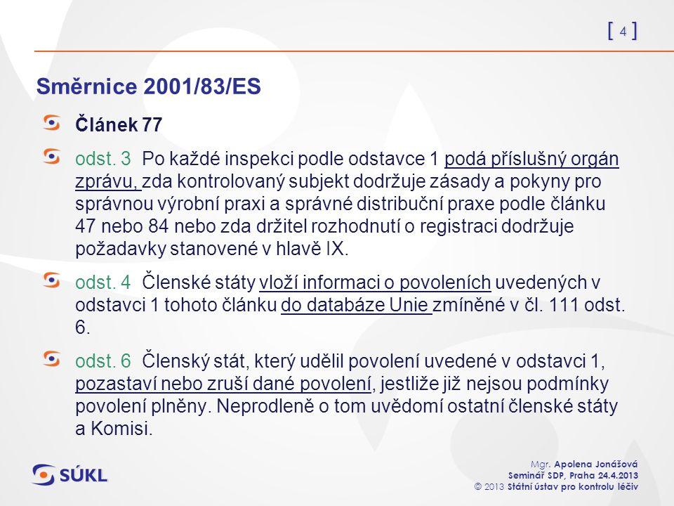 [ 4 ] Mgr. Apolena Jonášová Seminář SDP, Praha 24.4.2013 © 2013 Státní ústav pro kontrolu léčiv Směrnice 2001/83/ES Článek 77 odst. 3 Po každé inspekc