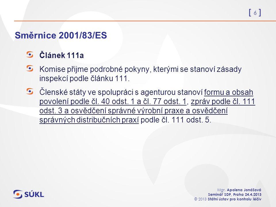 [ 6 ] Mgr. Apolena Jonášová Seminář SDP, Praha 24.4.2013 © 2013 Státní ústav pro kontrolu léčiv Směrnice 2001/83/ES Článek 111a Komise přijme podrobné