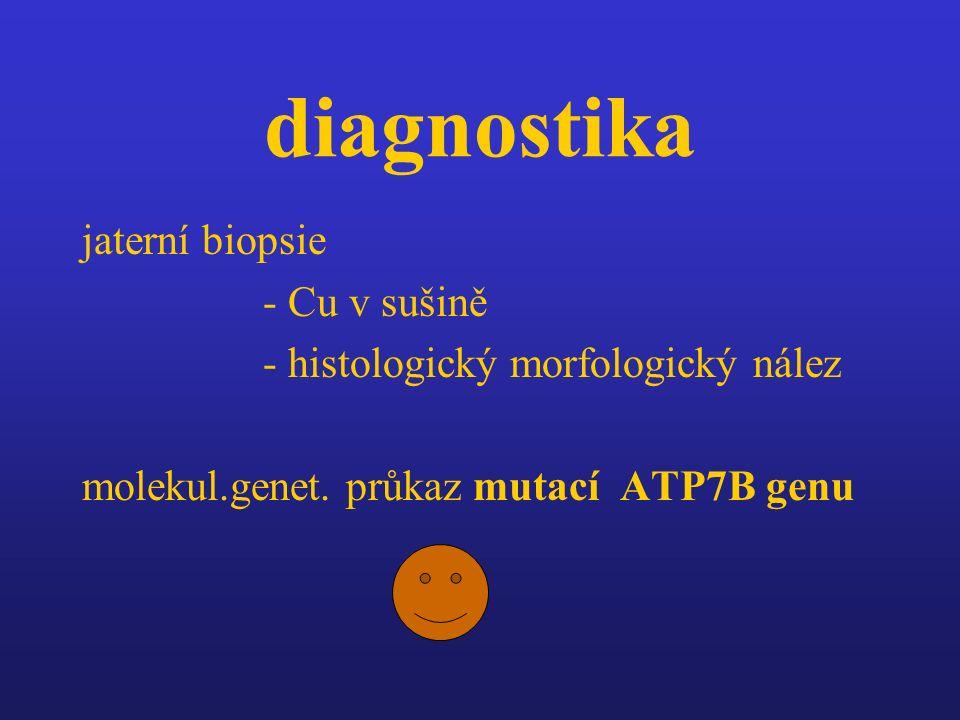 diagnostika jaterní biopsie - Cu v sušině - histologický morfologický nález molekul.genet. průkaz mutací ATP7B genu