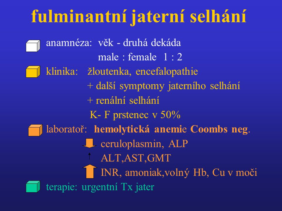 fulminantní jaterní selhání anamnéza: věk - druhá dekáda male : female 1 : 2 klinika: žloutenka, encefalopathie + další symptomy jaterního selhání + renální selhání K- F prstenec v 50% laboratoř: hemolytická anemie Coombs neg.