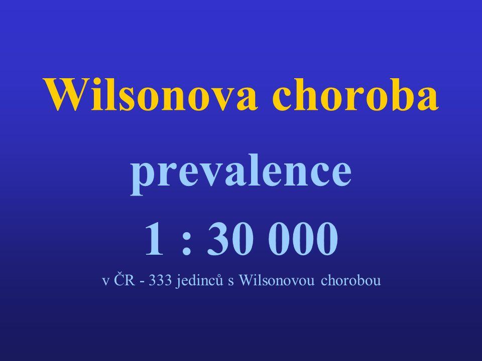 Wilsonova choroba prevalence 1 : 30 000 v ČR - 333 jedinců s Wilsonovou chorobou