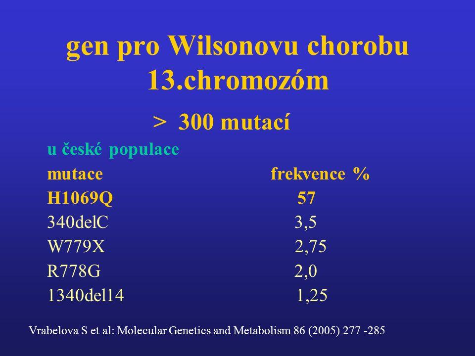 gen pro Wilsonovu chorobu 13.chromozóm > 300 mutací u české populace mutace frekvence % H1069Q 57 340delC 3,5 W779X 2,75 R778G 2,0 1340del14 1,25 Vrabelova S et al: Molecular Genetics and Metabolism 86 (2005) 277 -285
