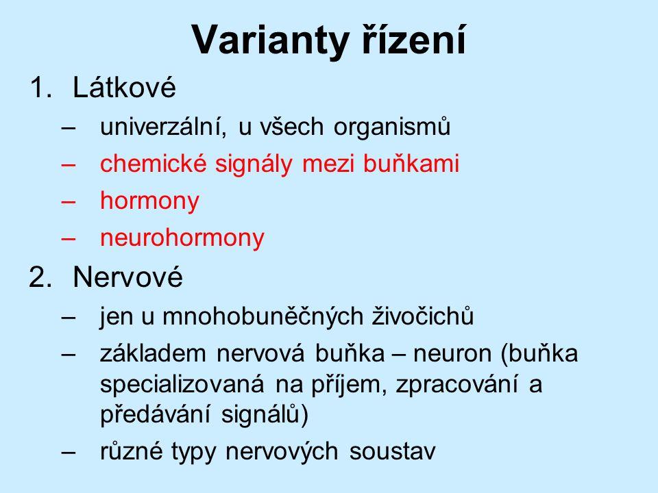 Varianty řízení 1.Látkové –univerzální, u všech organismů –chemické signály mezi buňkami –hormony –neurohormony 2.Nervové –jen u mnohobuněčných živočichů –základem nervová buňka – neuron (buňka specializovaná na příjem, zpracování a předávání signálů) –různé typy nervových soustav