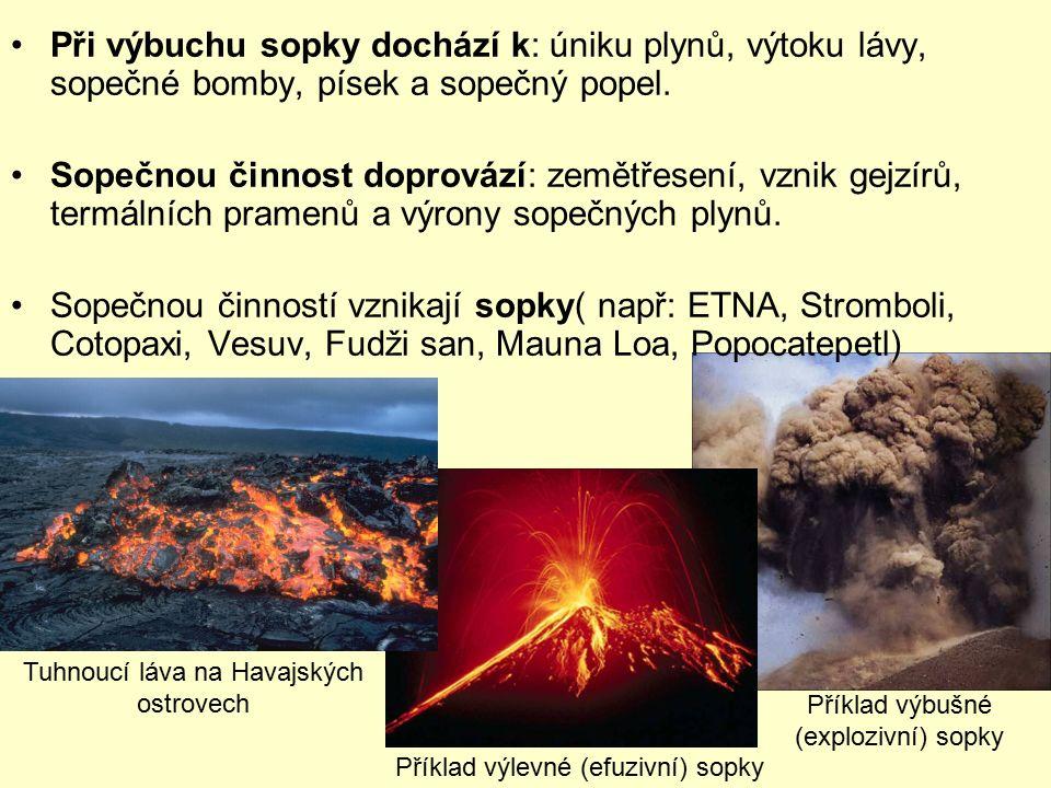 Při výbuchu sopky dochází k: úniku plynů, výtoku lávy, sopečné bomby, písek a sopečný popel. Sopečnou činnost doprovází: zemětřesení, vznik gejzírů, t