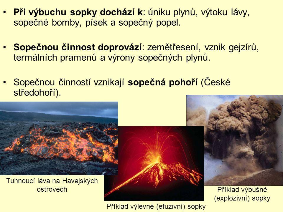Při výbuchu sopky dochází k: úniku plynů, výtoku lávy, sopečné bomby, písek a sopečný popel.
