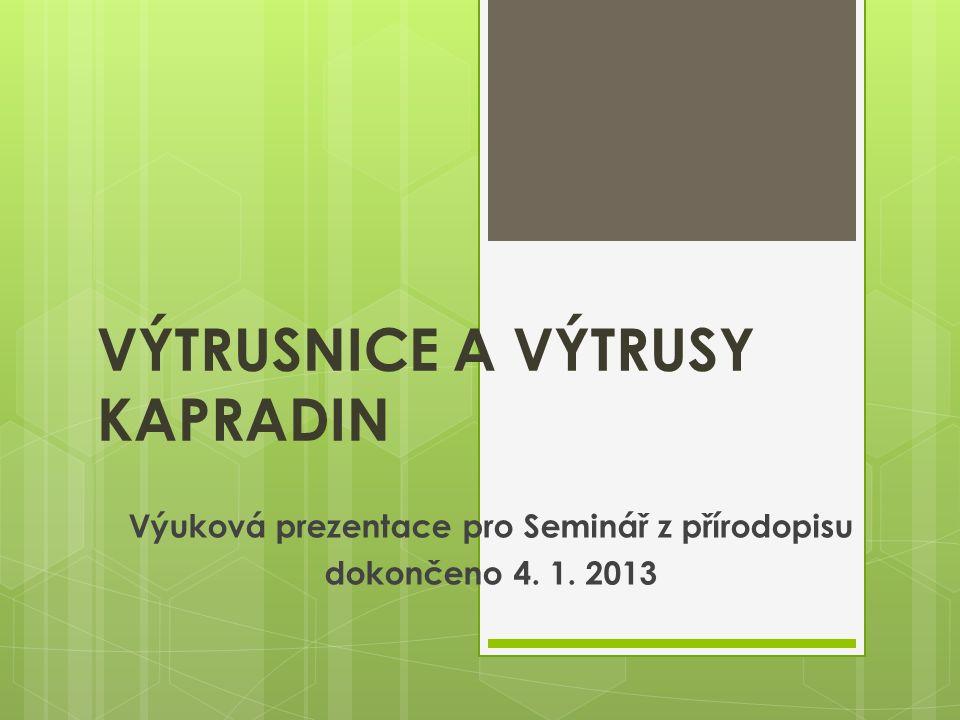 VÝTRUSNICE A VÝTRUSY KAPRADIN Výuková prezentace pro Seminář z přírodopisu dokončeno 4. 1. 2013