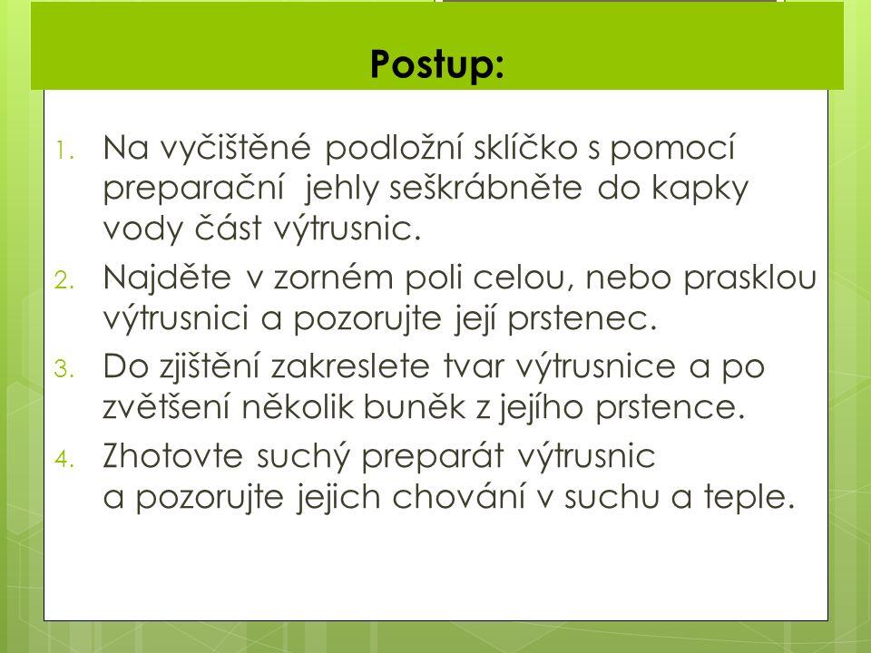 Postup: 1.