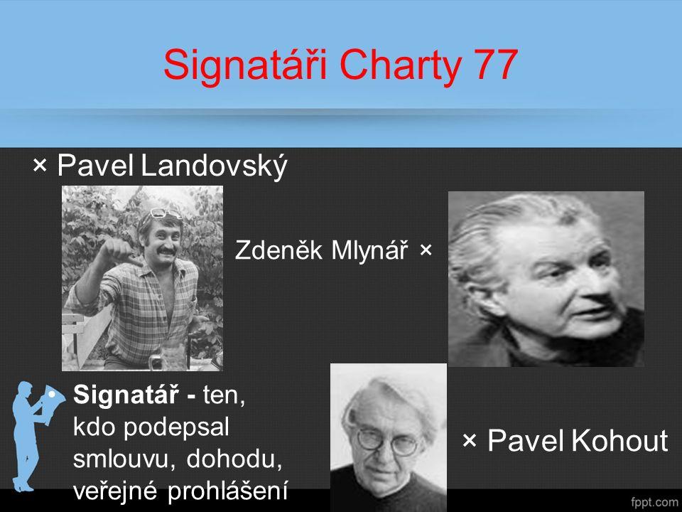Signatáři Charty 77 ×Pavel Landovský Zdeněk Mlynář × Signatář - ten, kdo podepsal smlouvu, dohodu, veřejné prohlášení × Pavel Kohout