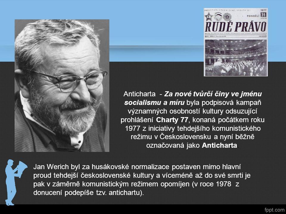 Anticharta - Za nové tvůrčí činy ve jménu socialismu a míru byla podpisová kampaň významných osobností kultury odsuzující prohlášení Charty 77, konaná počátkem roku 1977 z iniciativy tehdejšího komunistického režimu v Československu a nyní běžně označovaná jako Anticharta.