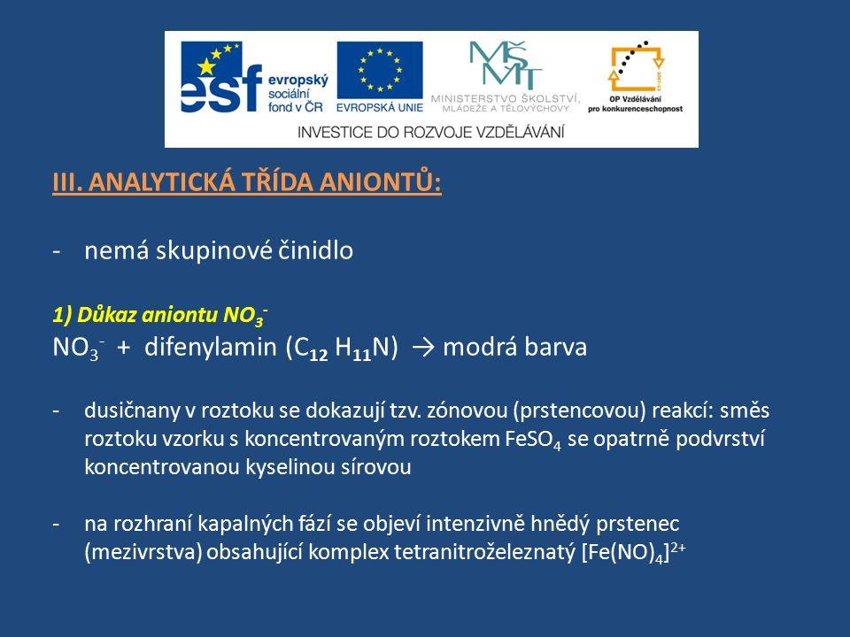 III. ANALYTICKÁ TŘÍDA ANIONTŮ: -nemá skupinové činidlo 1) Důkaz aniontu NO 3 - NO 3 - + difenylamin (C 12 H 11 N) → modrá barva -dusičnany v roztoku s