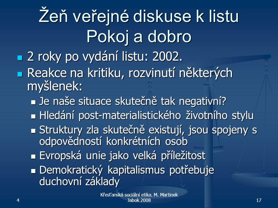 4 Křesťanská sociální etika. M. Martinek Jabok 200817 Žeň veřejné diskuse k listu Pokoj a dobro 2 roky po vydání listu: 2002. 2 roky po vydání listu: