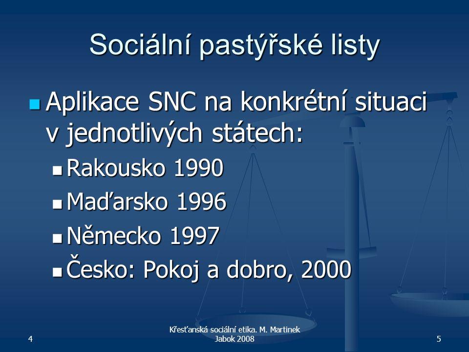 4 Křesťanská sociální etika. M. Martinek Jabok 20085 Sociální pastýřské listy Aplikace SNC na konkrétní situaci v jednotlivých státech: Aplikace SNC n