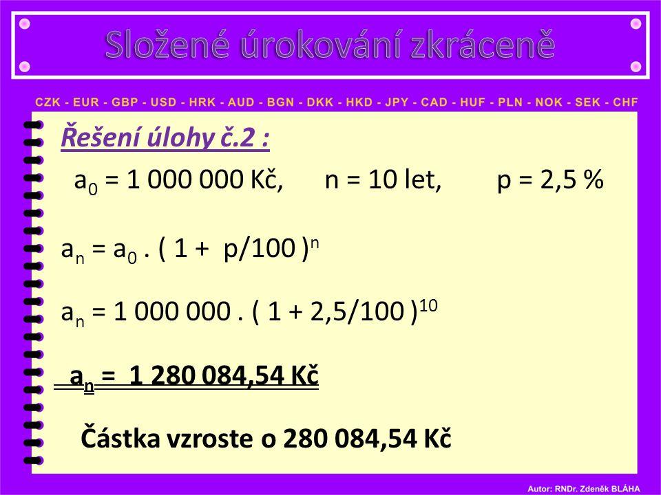 Řešení úlohy č.2 : a 0 = 1 000 000 Kč, n = 10 let, p = 2,5 % a n = a 0.