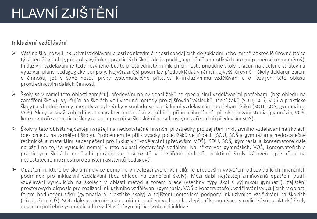 HLAVNÍ ZJIŠTĚNÍ Infrastruktura (investiční část)  V Moravskoslezském kraji má zájem o čerpání z vyhrazených finančních prostředků 81 % škol – ve srovnání s celorepublikovým výsledkem (v ČR deklaruje zájem o čerpání 77 %) je tedy zájem o čerpání lehce nadprůměrný, a to i přesto, že důležitost rozvoje infrastruktury není ve srovnání s ostatními kraji příliš vysoká.