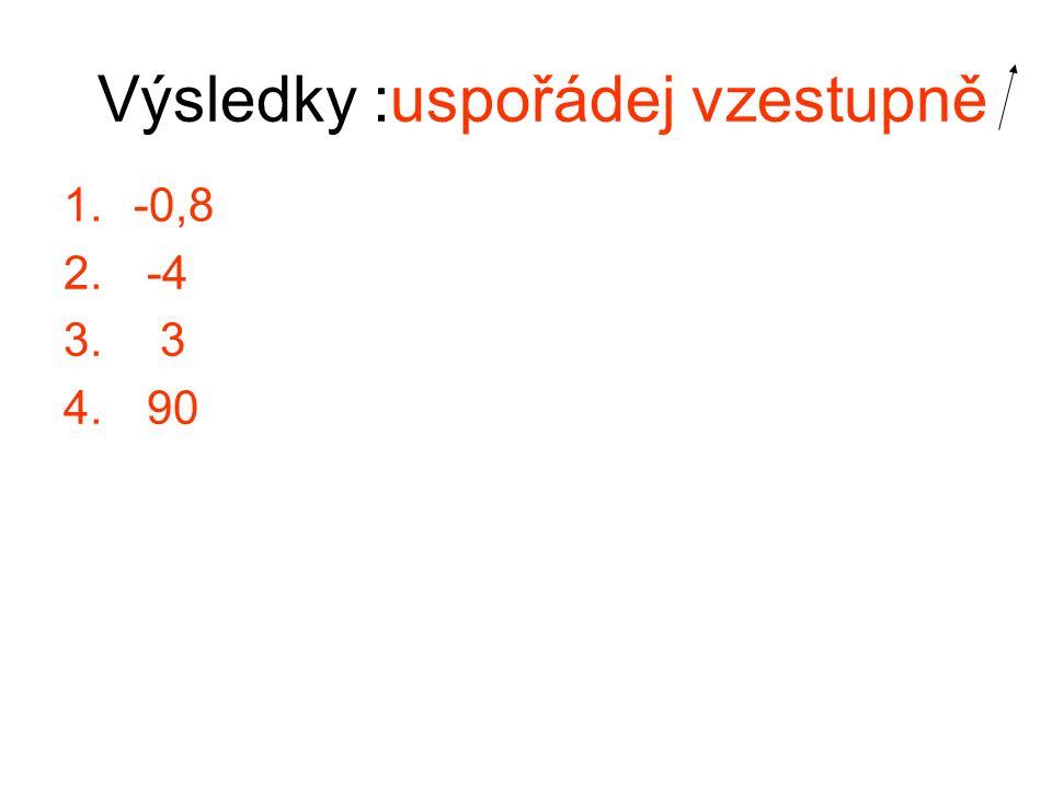 Výsledky :uspořádej vzestupně 1.-0,8 2. -4 3. 3 4. 90