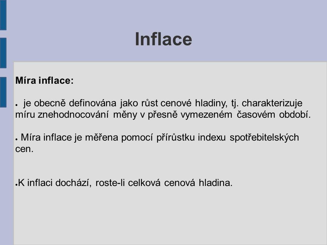 Inflace Míra inflace: ● je obecně definována jako růst cenové hladiny, tj. charakterizuje míru znehodnocování měny v přesně vymezeném časovém období.