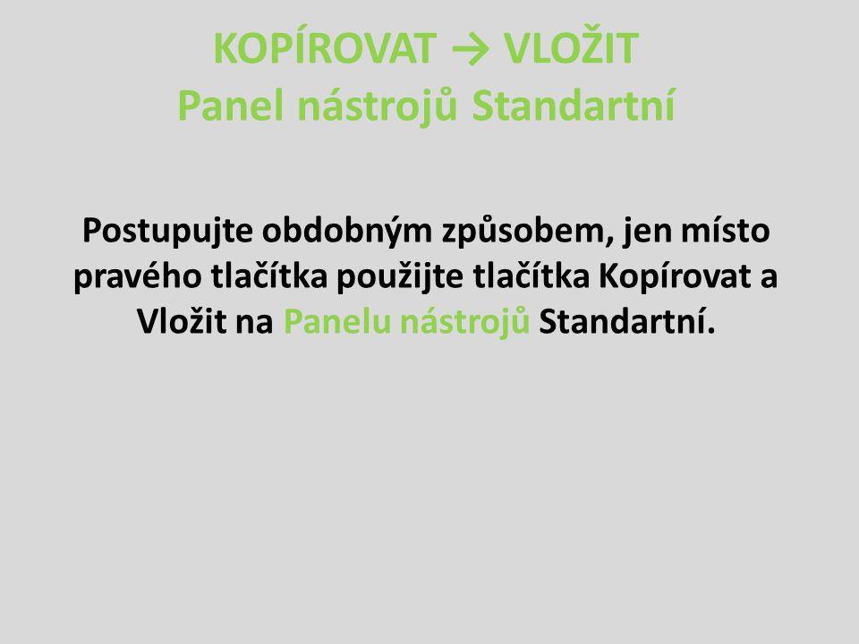 KOPÍROVAT → VLOŽIT Panel nástrojů Standartní Postupujte obdobným způsobem, jen místo pravého tlačítka použijte tlačítka Kopírovat a Vložit na Panelu nástrojů Standartní.
