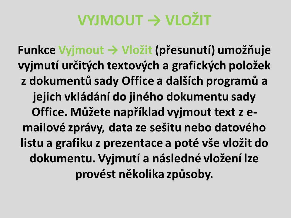 VYJMOUT → VLOŽIT Funkce Vyjmout → Vložit (přesunutí) umožňuje vyjmutí určitých textových a grafických položek z dokumentů sady Office a dalších programů a jejich vkládání do jiného dokumentu sady Office.