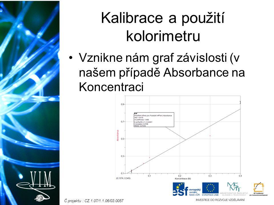 Č.projektu : CZ.1.07/1.1.06/03.0057 Kalibrace a použití kolorimetru Vznikne nám graf závislosti (v našem případě Absorbance na Koncentraci