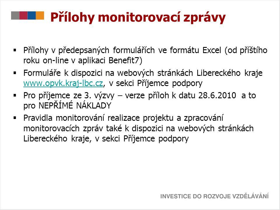 Přílohy monitorovací zprávy  Příloha č.1: Monitorovací indikátory  Příloha č.