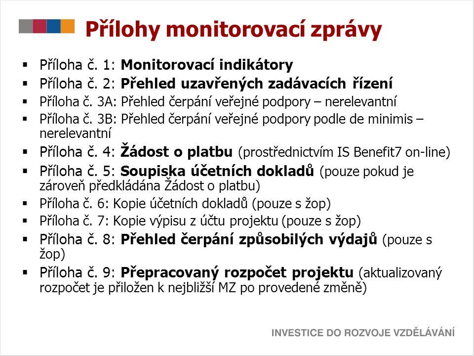 Přílohy monitorovací zprávy  Příloha č. 1: Monitorovací indikátory  Příloha č.
