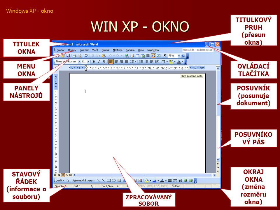 WIN XP - OKNO TITULKOVÝ PRUH (přesun okna) OVLÁDACÍ TLAČÍTKA POSUVNÍK (posunuje dokument) POSUVNÍKO VÝ PÁS ZPRACOVÁVANÝ SOBOR STAVOVÝ ŘÁDEK (informace o souboru) OKRAJ OKNA (změna rozměru okna) TITULEK OKNA MENU OKNA PANELY NÁSTROJŮ Windows XP - okno