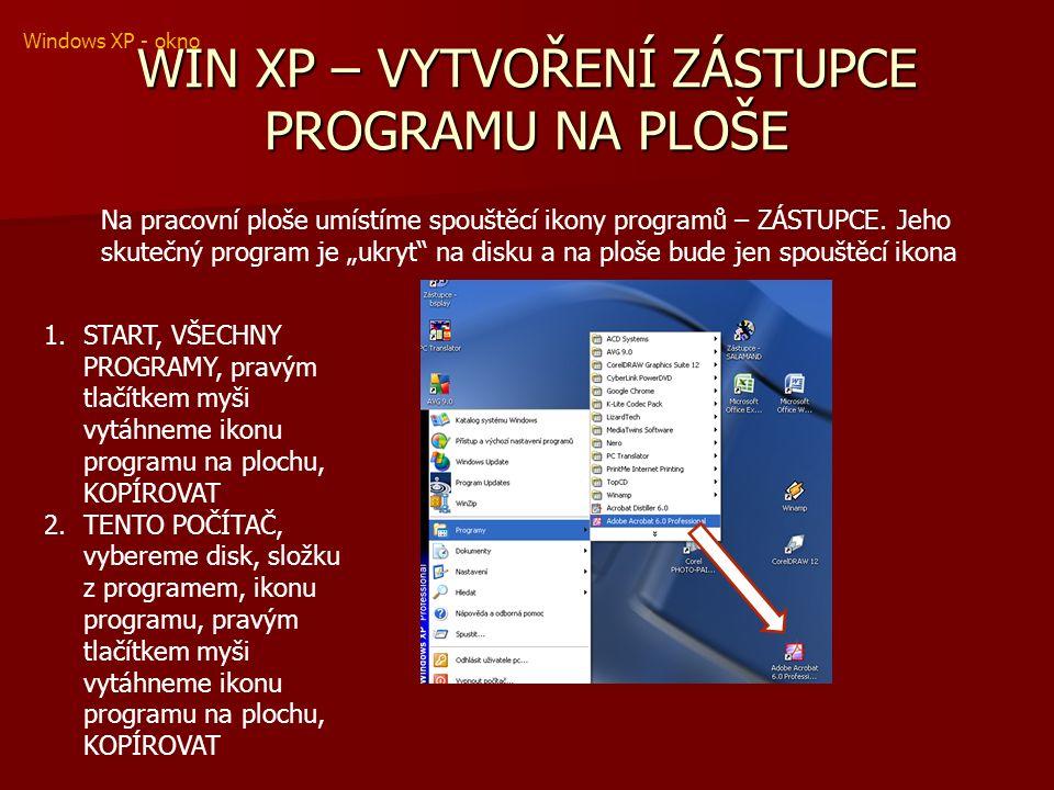 WIN XP – VYTVOŘENÍ ZÁSTUPCE PROGRAMU NA PLOŠE Na pracovní ploše umístíme spouštěcí ikony programů – ZÁSTUPCE.