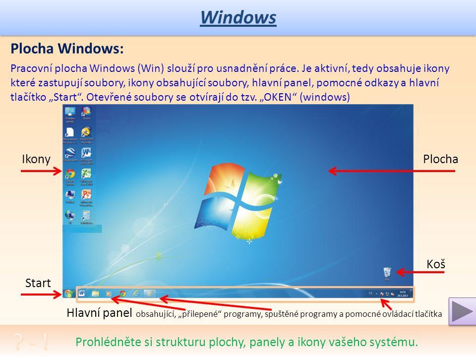 Windows Ovládání Windows: Základní ovládání je pomocí myši, která přenáší svůj pohyb na pohyb pracovního kurzoru (základní grafický kurzor je šipka).