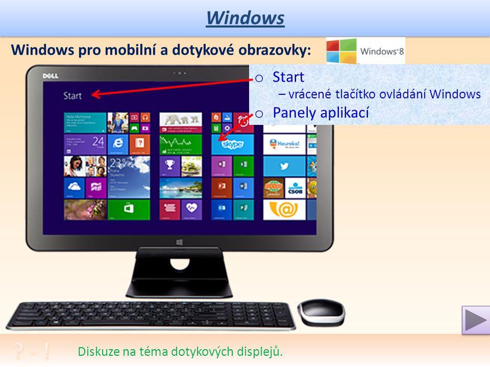Windows Praktické procvičení a porozumění nabídkám. Tlačítko START – nastavení hlavního panelu Start – Všechny Programy: o Výběr programové skupiny o