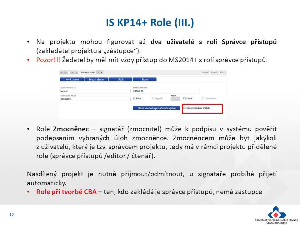 """12 IS KP14+ Role (III.) Na projektu mohou figurovat až dva uživatelé s rolí Správce přístupů (zakladatel projektu a """"zástupce""""). Pozor!!! Žadatel by m"""