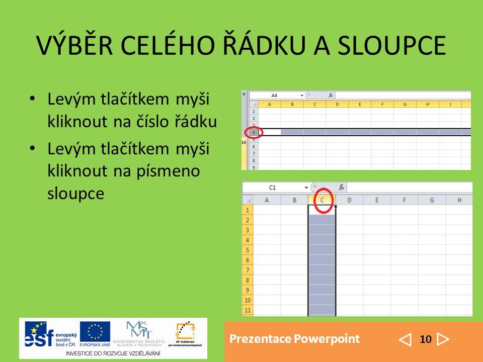 Prezentace Powerpoint 10 VÝBĚR CELÉHO ŘÁDKU A SLOUPCE Levým tlačítkem myši kliknout na číslo řádku Levým tlačítkem myši kliknout na písmeno sloupce
