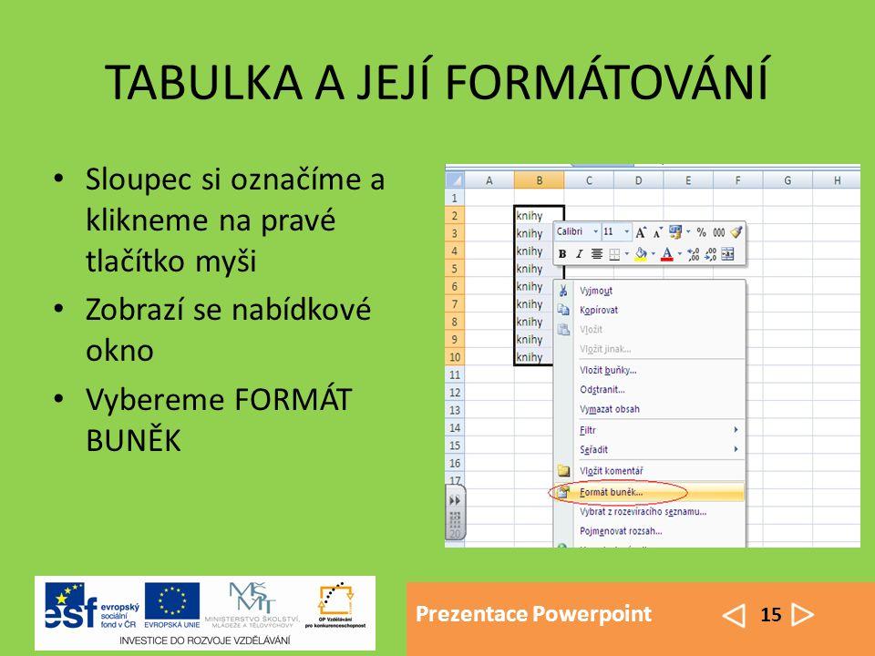 Prezentace Powerpoint 15 TABULKA A JEJÍ FORMÁTOVÁNÍ Sloupec si označíme a klikneme na pravé tlačítko myši Zobrazí se nabídkové okno Vybereme FORMÁT BUNĚK