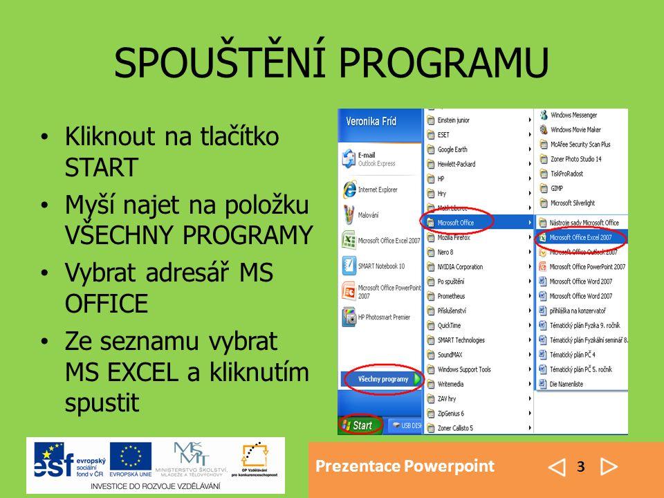 Prezentace Powerpoint 3 SPOUŠTĚNÍ PROGRAMU Kliknout na tlačítko START Myší najet na položku VŠECHNY PROGRAMY Vybrat adresář MS OFFICE Ze seznamu vybrat MS EXCEL a kliknutím spustit