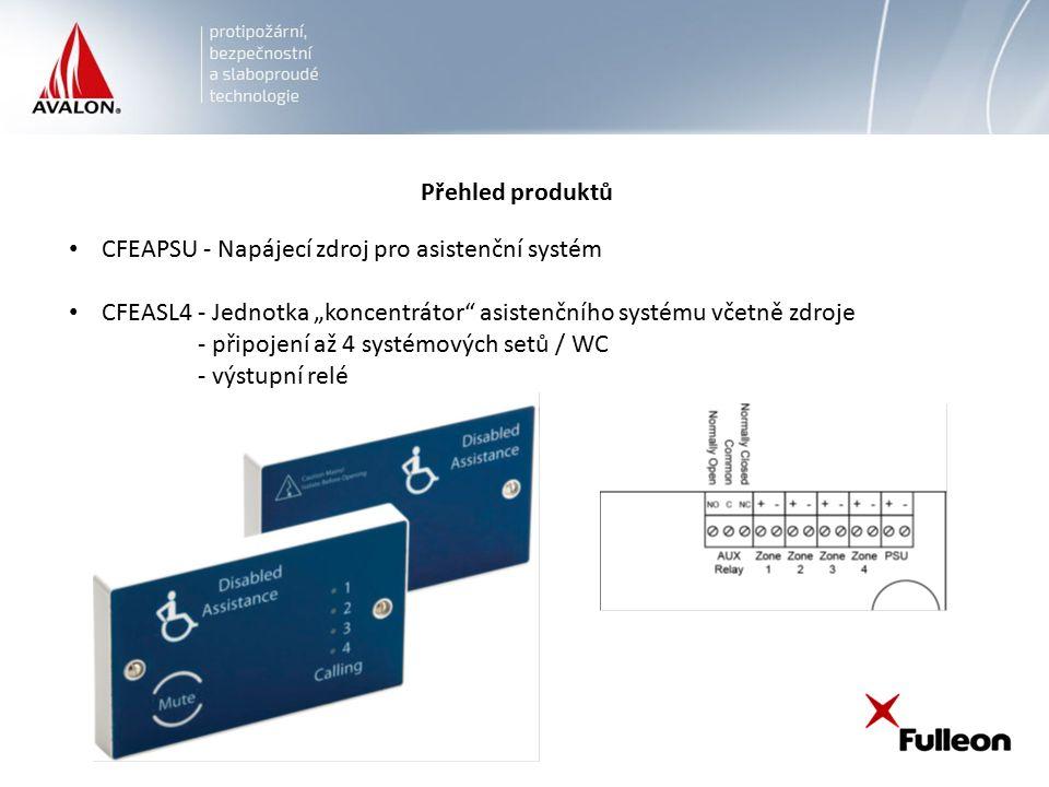 """Přehled produktů CFEAPSU - Napájecí zdroj pro asistenční systém CFEASL4 - Jednotka """"koncentrátor asistenčního systému včetně zdroje - připojení až 4 systémových setů / WC - výstupní relé"""