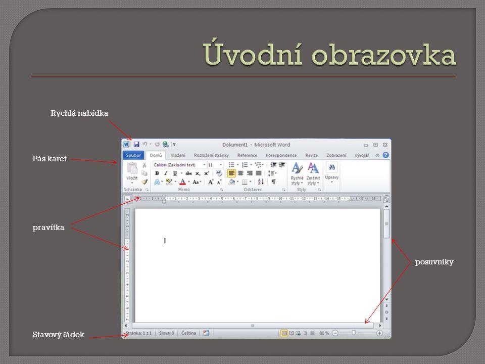 Na kart ě Dom ů v sekci Písmo se provádí formátování písma.