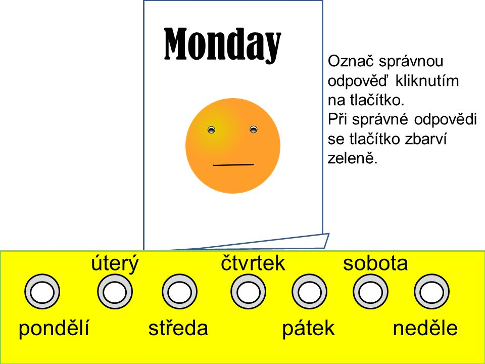 Monday pondělí úterý středa čtvrtek pátek sobota neděle Označ správnou odpověď kliknutím na tlačítko.
