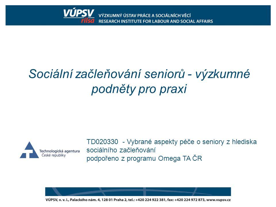 Sociální začleňování seniorů - výzkumné podněty pro praxi TD020330 - Vybrané aspekty péče o seniory z hlediska sociálního začleňování podpořeno z prog