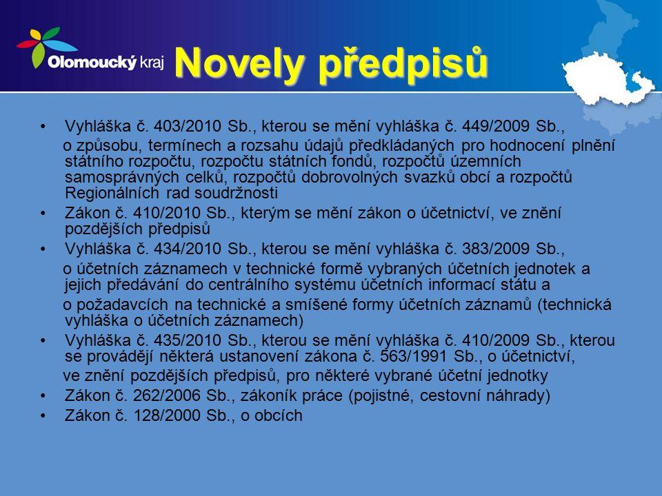 Novely předpisů Vyhláška č. 403/2010 Sb., kterou se mění vyhláška č.