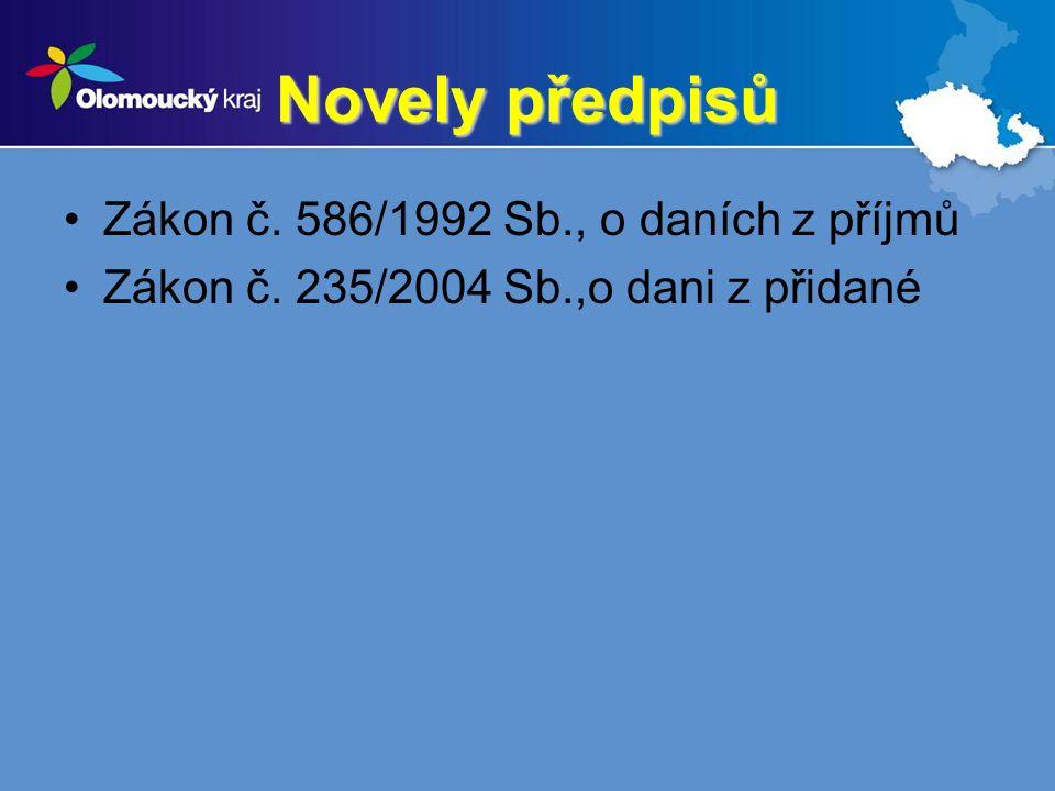 Novely předpisů Zákon č. 586/1992 Sb., o daních z příjmů Zákon č. 235/2004 Sb.,o dani z přidané
