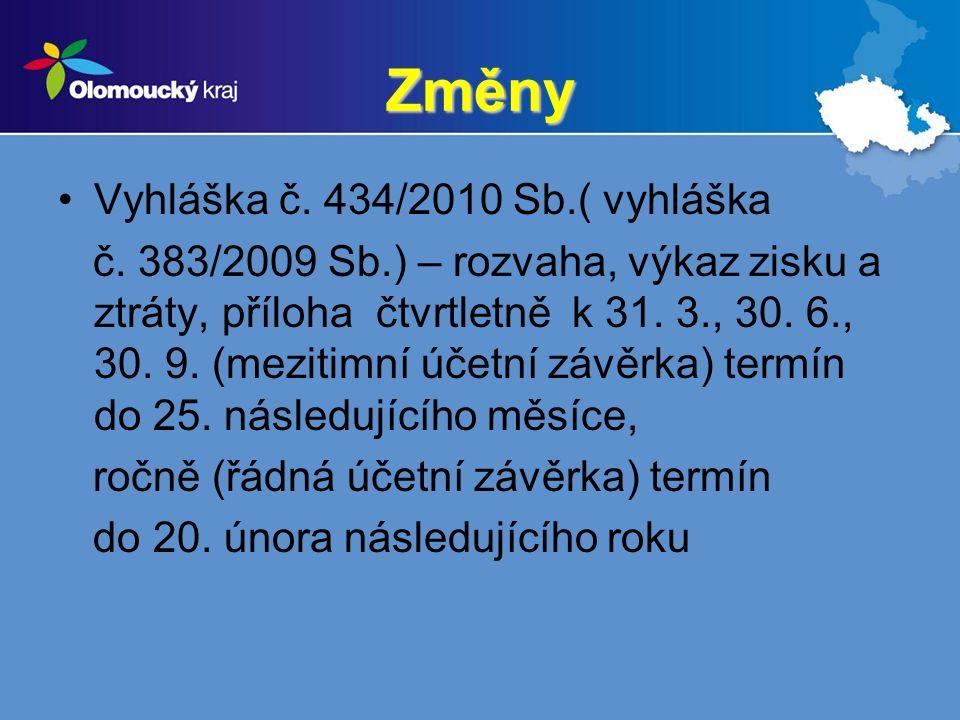 Změny Vyhláška č. 434/2010 Sb.( vyhláška č.